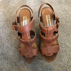 Steve Madden brown leather wedge sandal. 8M